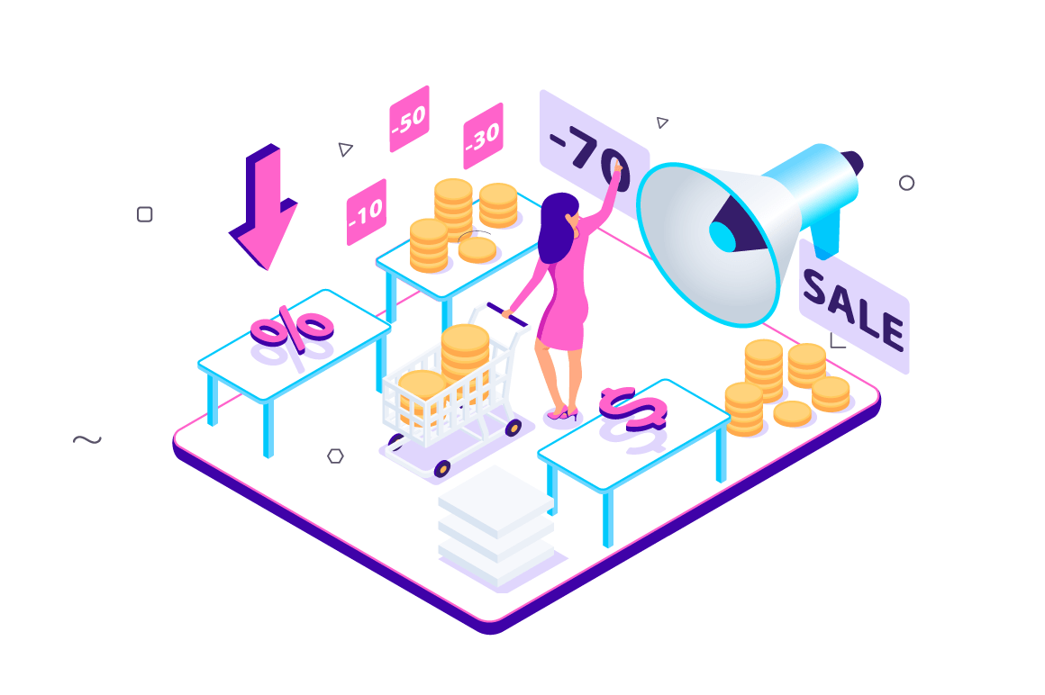 3d isometric customer experience with sales and coin.