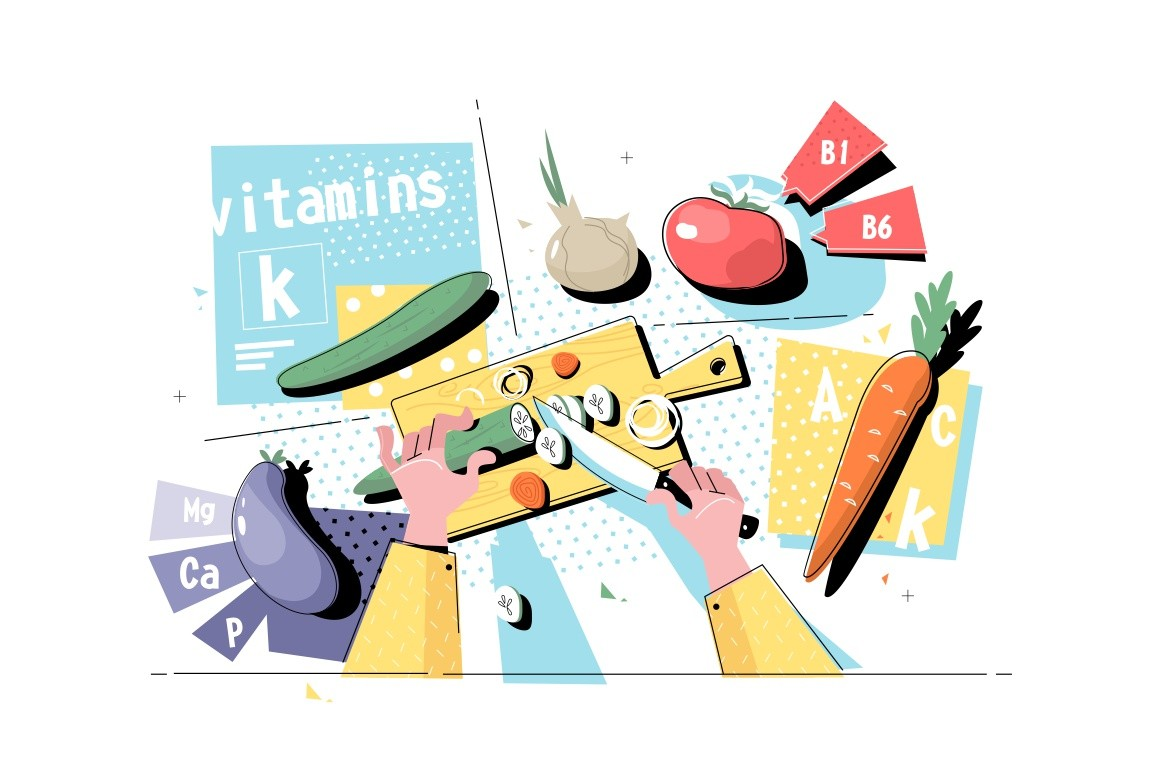 Cutting vegetables on table top view vector illustration. Hands holding knife and slicing cucumbers, carrots, tomatoes, eggplants and beetroots flat style concept. Vitaminic veggies