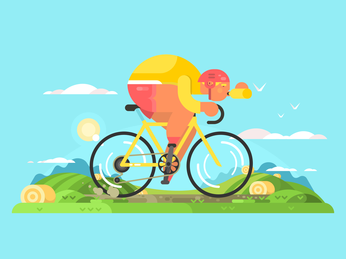 Cyclist sportsman on bike flat vector illustration