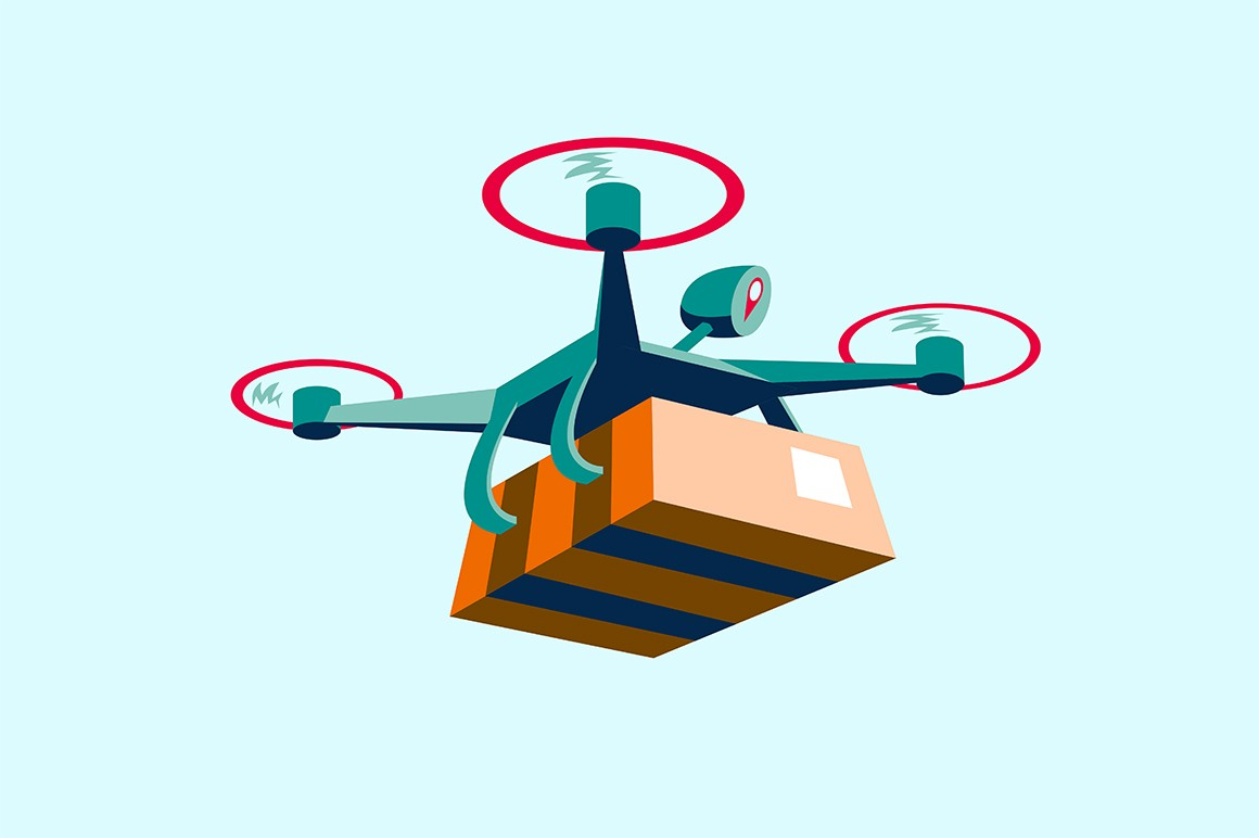 Drone delivery service vector illustration. Modern quadcopter flying with cardboard box flat style design. Fast and convenient transportation. Newest logistics technology
