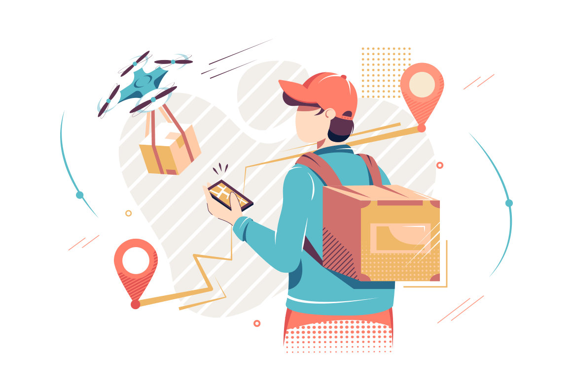 Flat isolated man with mobile phone with digital map and drone delivery.
