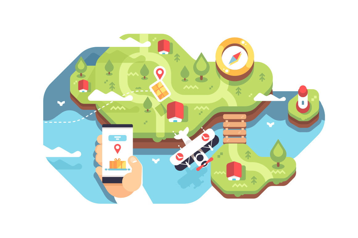 Mobile smartphone with app delivery tracking. Hand holding cellphone with open app of service delivery search with location and navigation map pins vector illustration. Logistic network flat concept