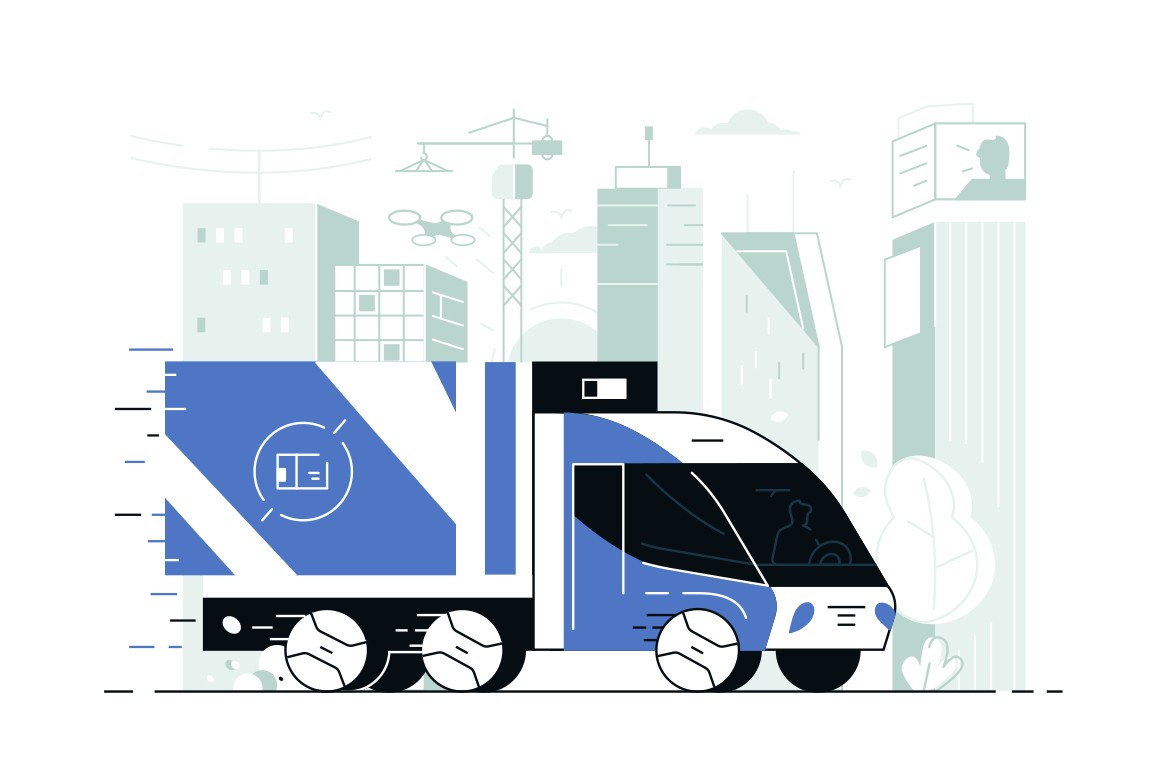 Delivery service truck vector illustration. Commercial vehicle delivering goods to customers flat style concept. City landscape with skyscrapers on background