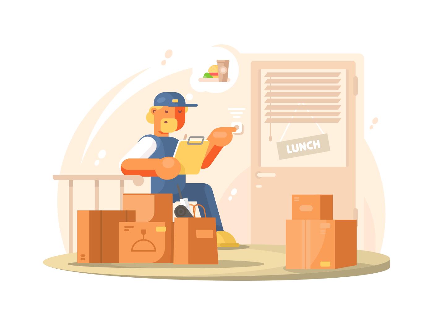 Uniformed deliveryman character illustration