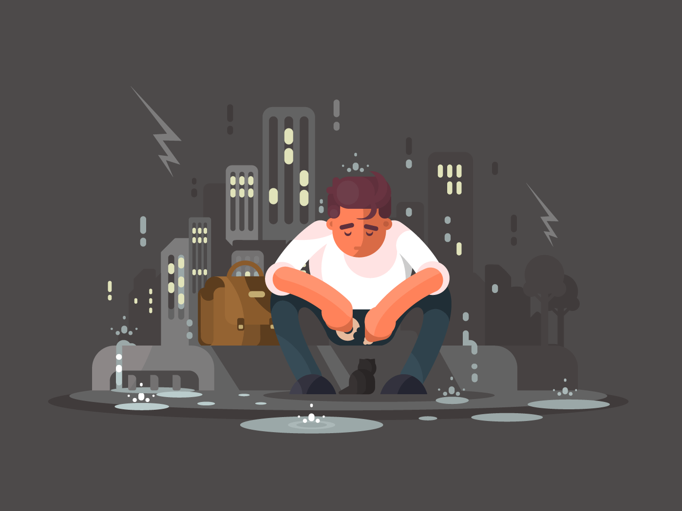 Young man in depression flat vector illustration