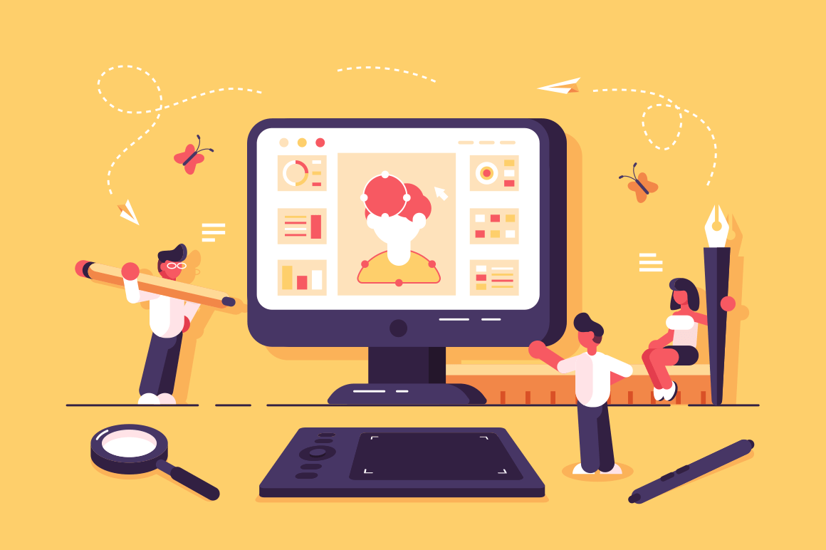Web specialists working in design studio vector illustration. Team of people creating social networking app with profile. Office employees showing creativity. Teamwork concept