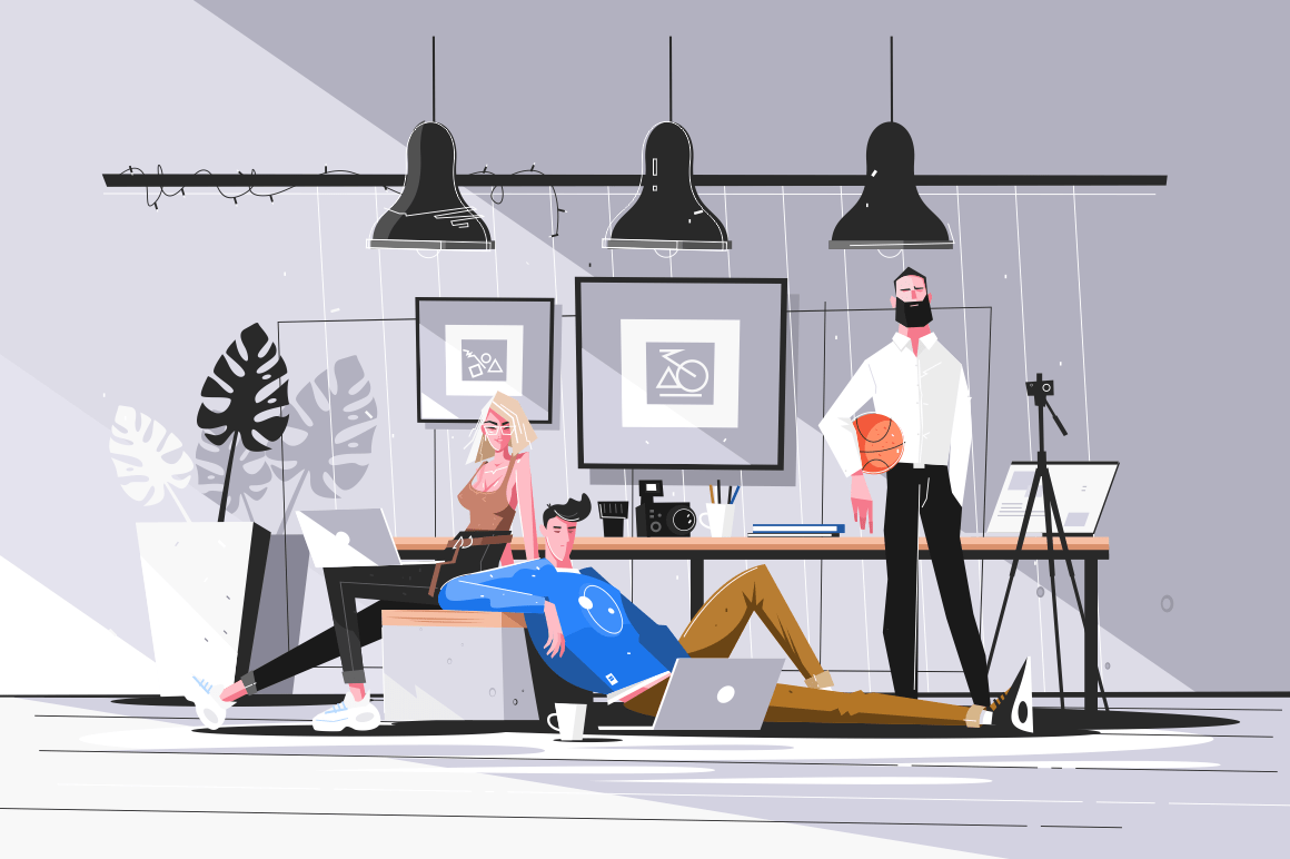 Designers working in studio vector illustration. Men and woman doing new projects in office. Creative people creating websites. Bureau interior. Teamwork concept.
