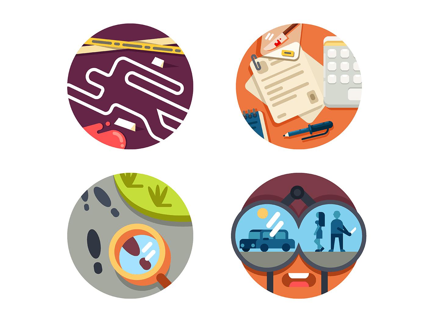Detective set icons