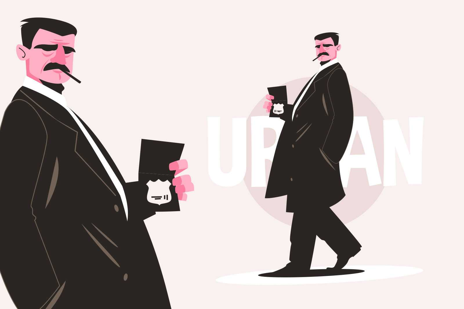 Detective man with cigarette vector illustration. Thinking detective character with identification flat style. Criminal investigation concept. Isolated on pink background