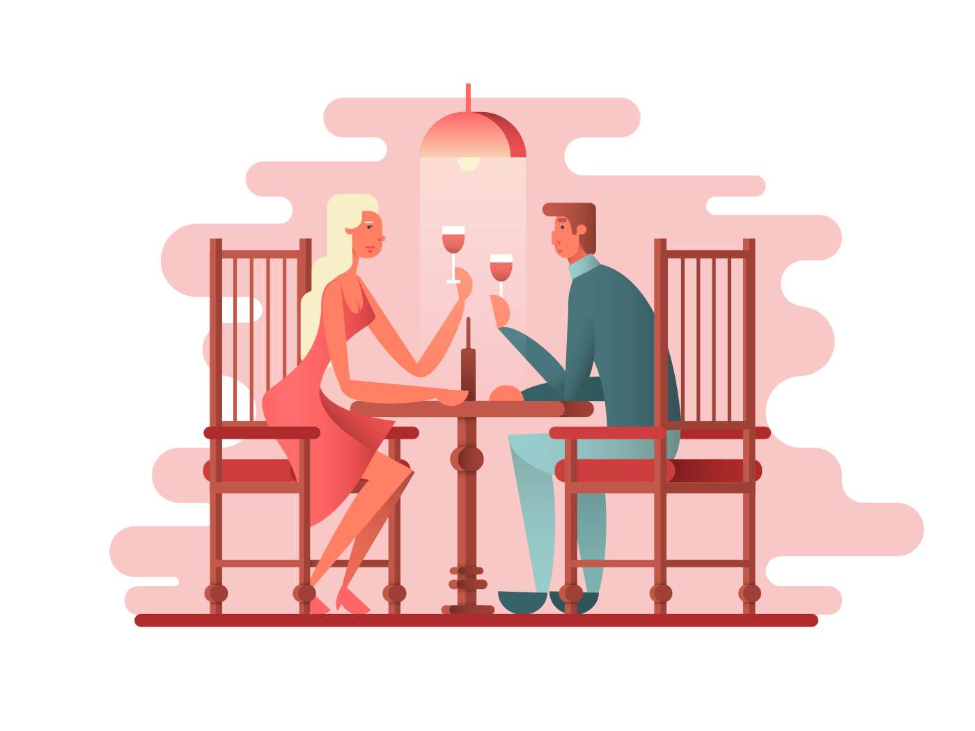 Romantic dinner a couple of lovers illustration
