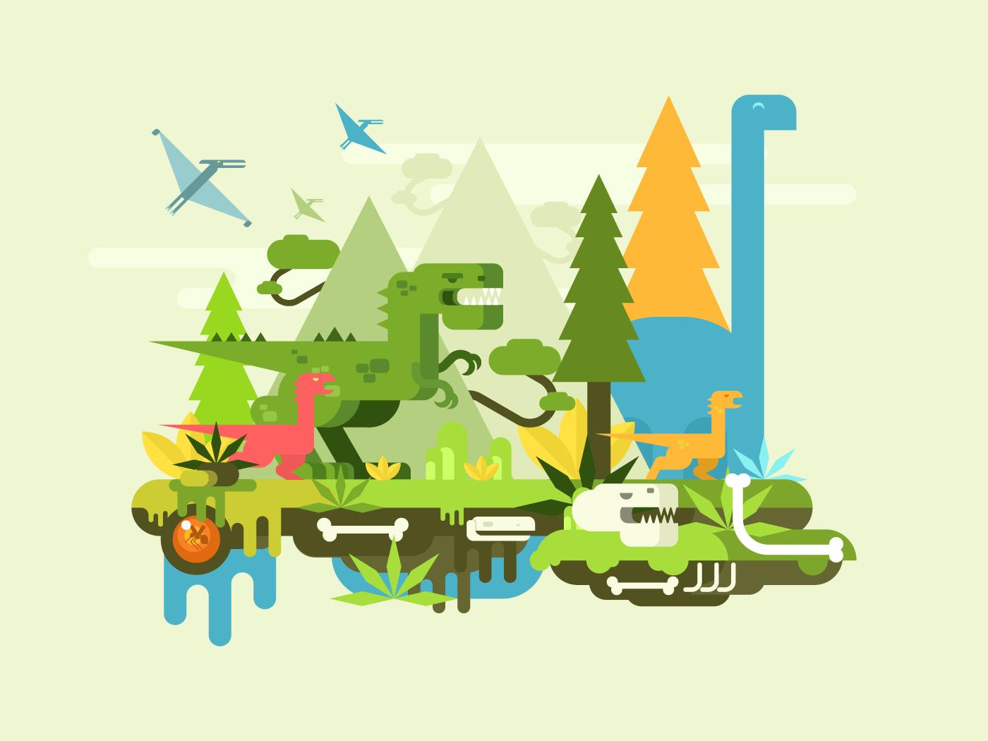 Dawn of the dinosaurs flat vector illustration