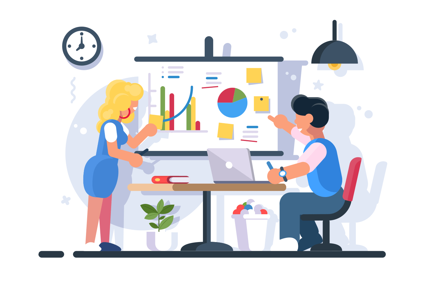 Couple discussing financial chart analytics. Man woman brainstorming flipchart statistic diagram graphs. Presentation business strategy performance concept. Flat. Vector illustration.