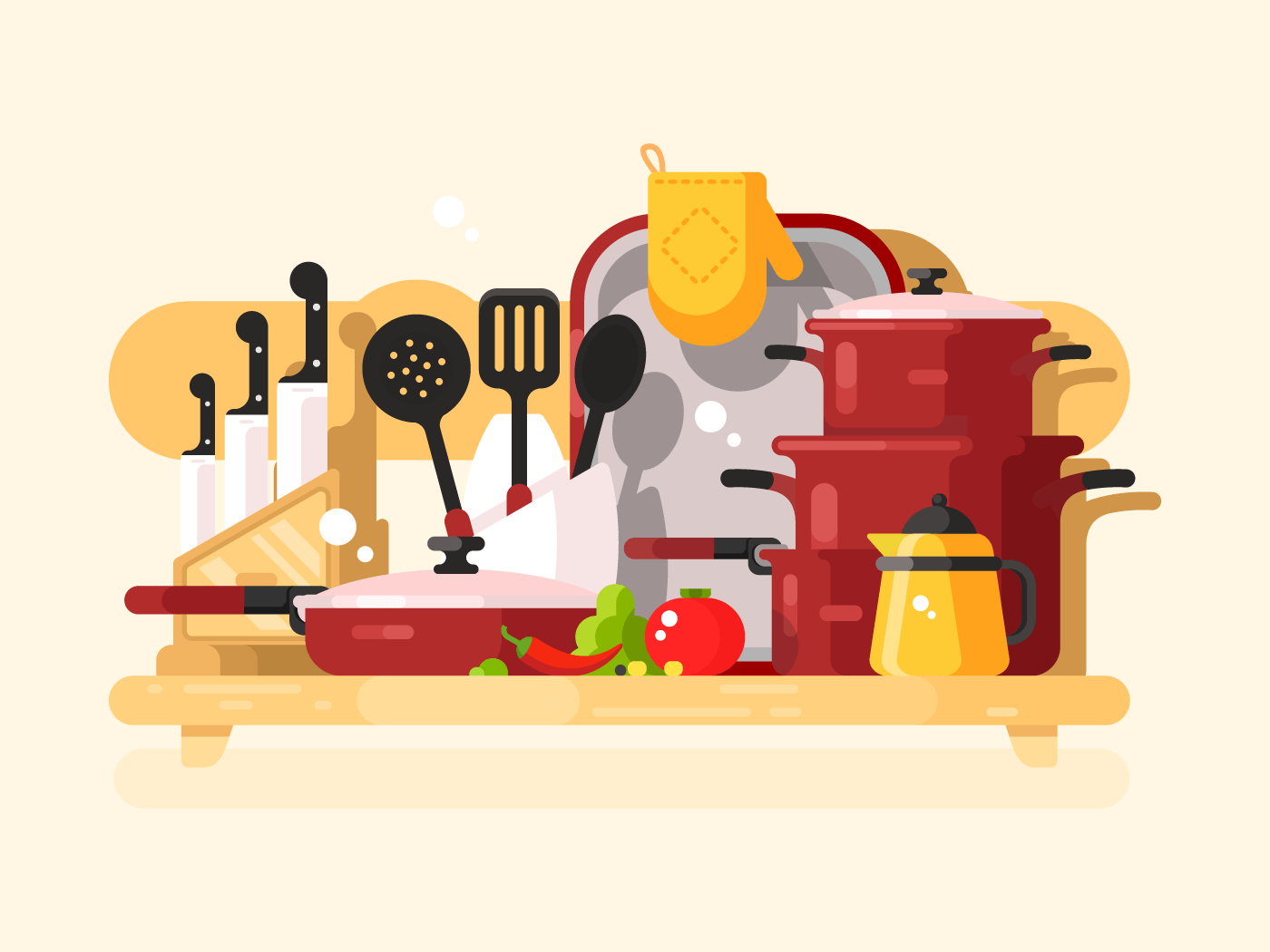 Kitchen dishes flat vector illustration