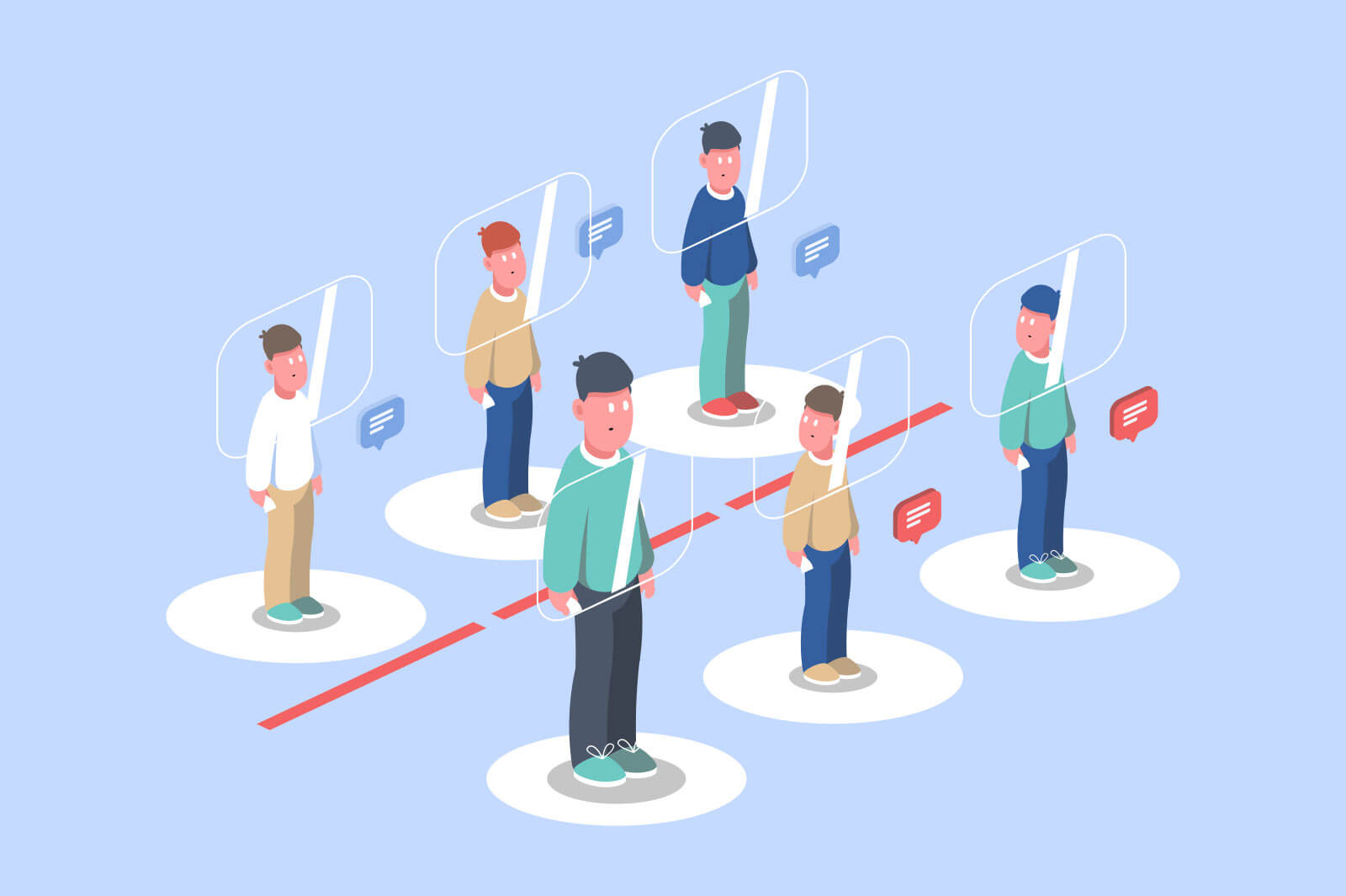 People follow distance rule vector illustration. People in bank queue not cross red line flat style. Prevention virus spread and coronavirus concept. Isolated on blue background