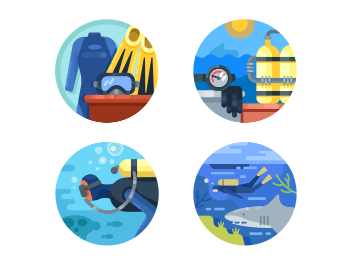 Diving set icons
