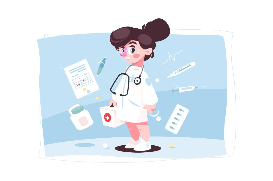 Cheerful female doctor in medical gown and stethoscope vector illustration. Nurse with first aid box and special equipment cartoon design. Medicine and health concept
