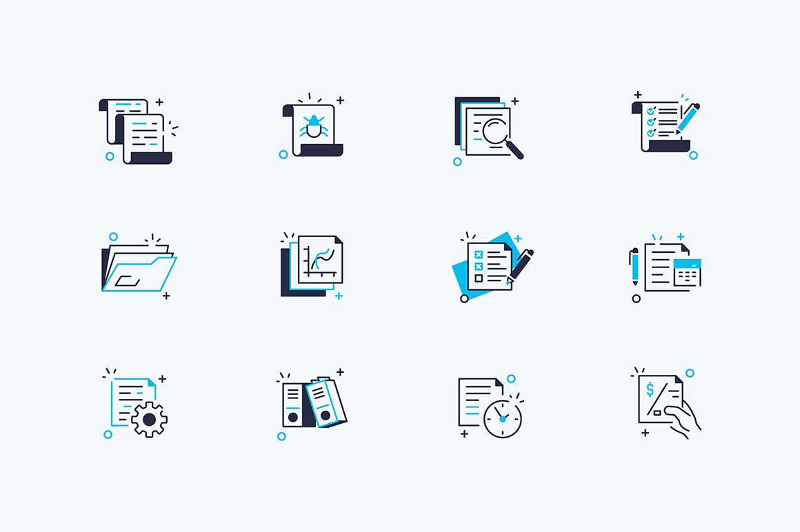 Documents line icons set vector illustration. Composition consists of auto reports, calculation, settings, generate, investment plan, percentage diagram flat style concept. Isolated on white