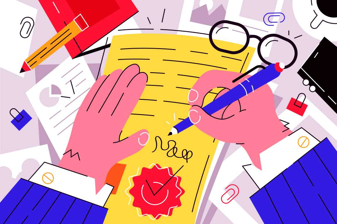 Businessman signing documents vector illustration. Boss signature on important papers flat style design. Paperwork. Business and conclusion of contract concept