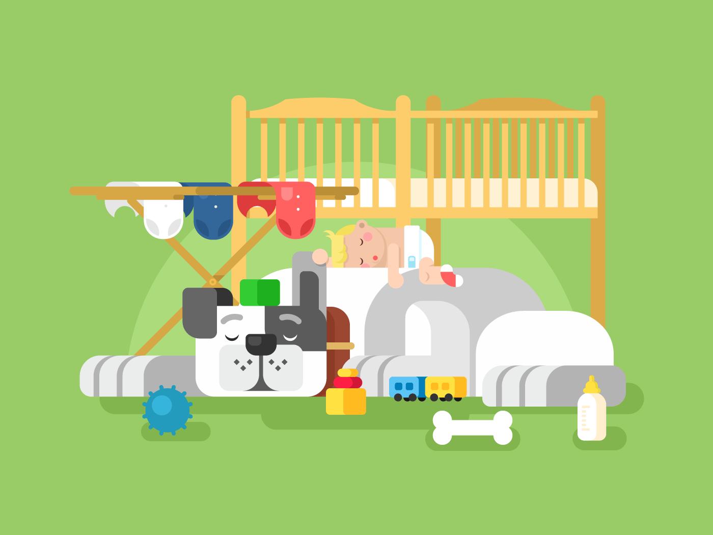 Dog and baby sleep flat vector illustration