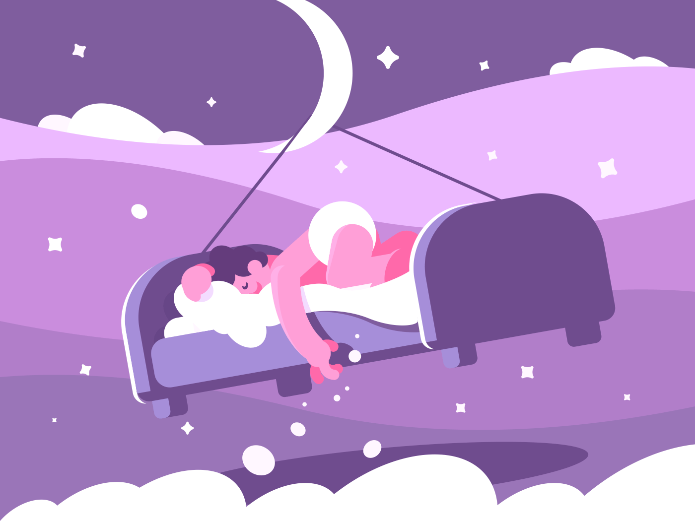 Man sleeping sweetly in bed. Night time dreaming, vector flat illustration