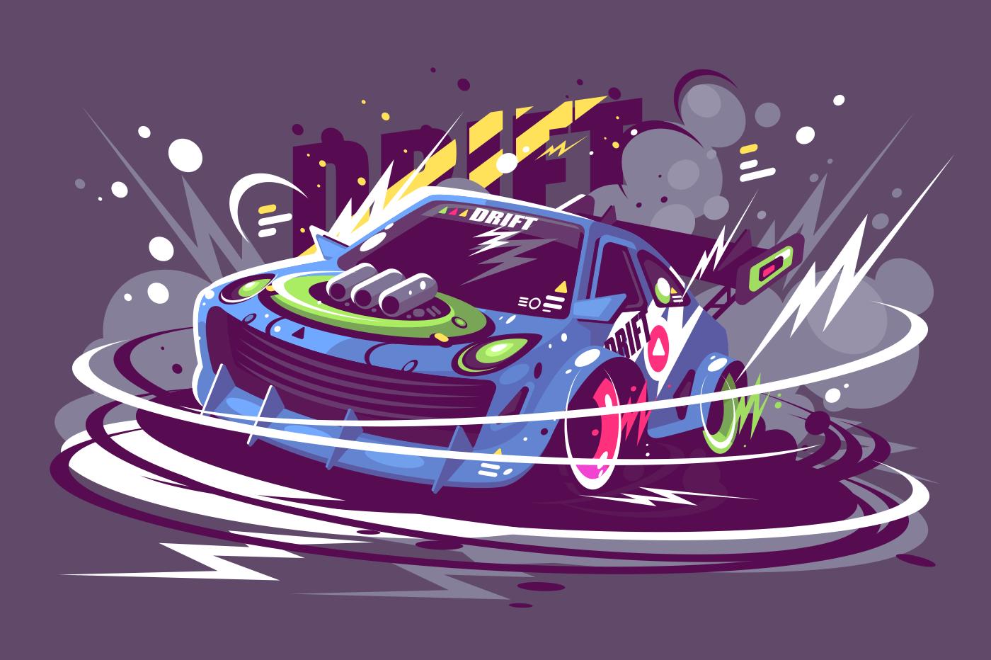 Power racing sport car drifting on race track. Burned tire smoke drift championship concept. Flat. Horizontal. Vector illustration