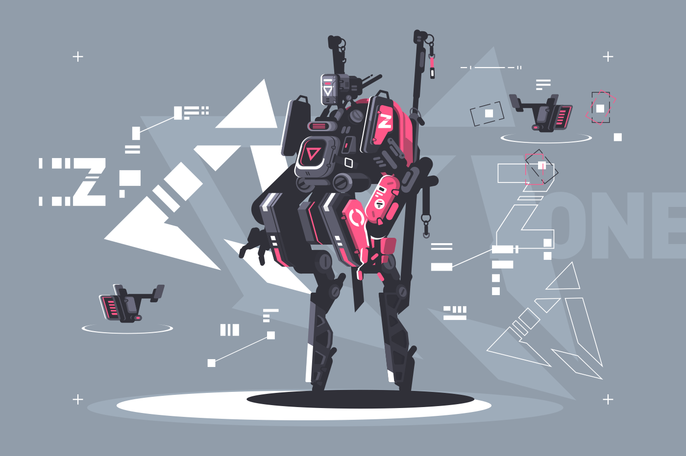 Robot drone mechanized and automated. New robotic technologies. Vector illustration