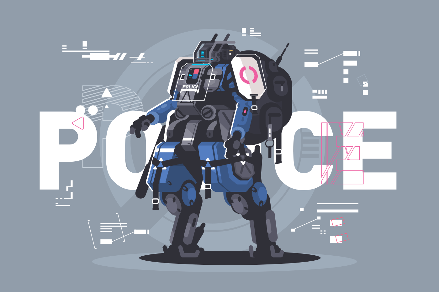 Police drone robot. Patrol cop with artificial intelligence. Vector illustration