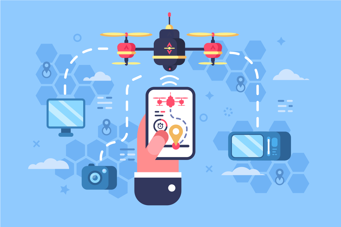 Drone delivery online service vector illustration. Male hand holding modern gadget and controlling quadcopter via mobile application. Technological shipment innovation concept. Autonomous logistics