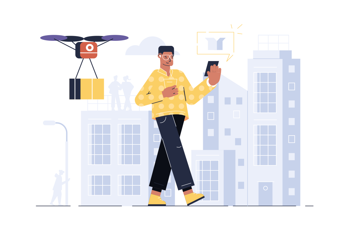 Drone delivery online service vector illustration. Man holding modern smartphone and controlling quadcopter via mobile app flat style concept. Technological innovation in autonomous logistics