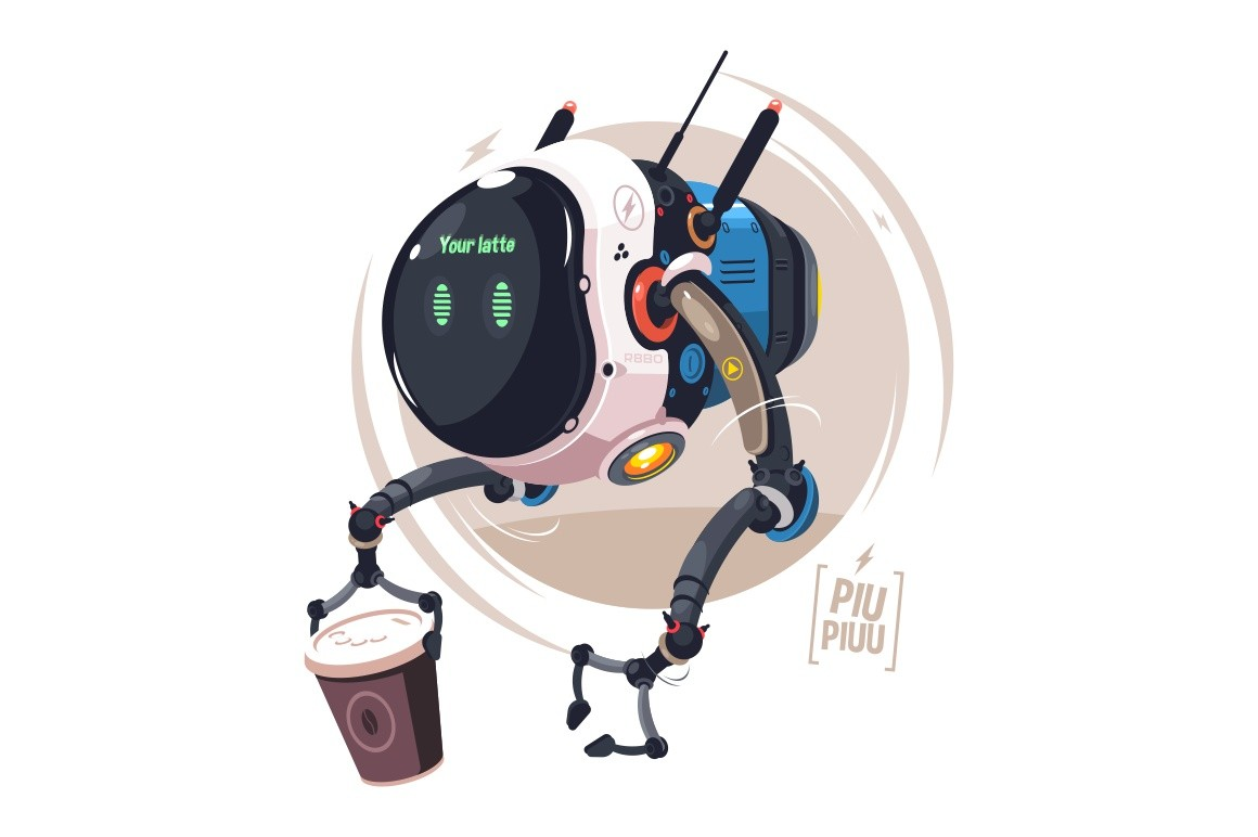 Modern delivery drone vector illustration. Fast robot courier delivering coffee. Bot holding paper cup flat style concept. Newest robotic technologies