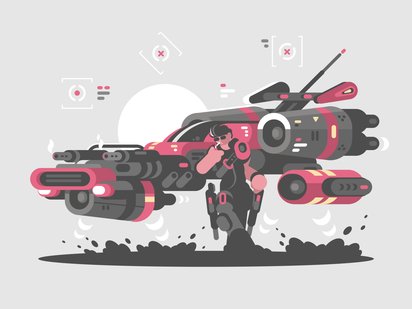 Flying machine of future and cool dude space traveler. Vector illustration