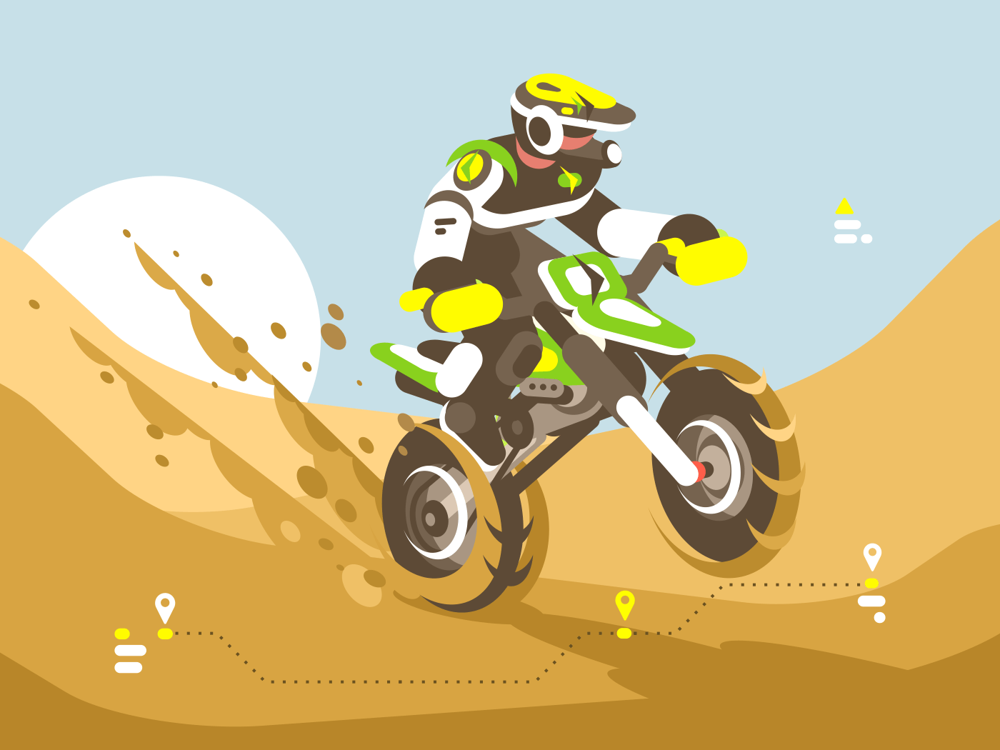 Motorcyclist on motorcycle wearing helmet racing in desert. Vector illustration