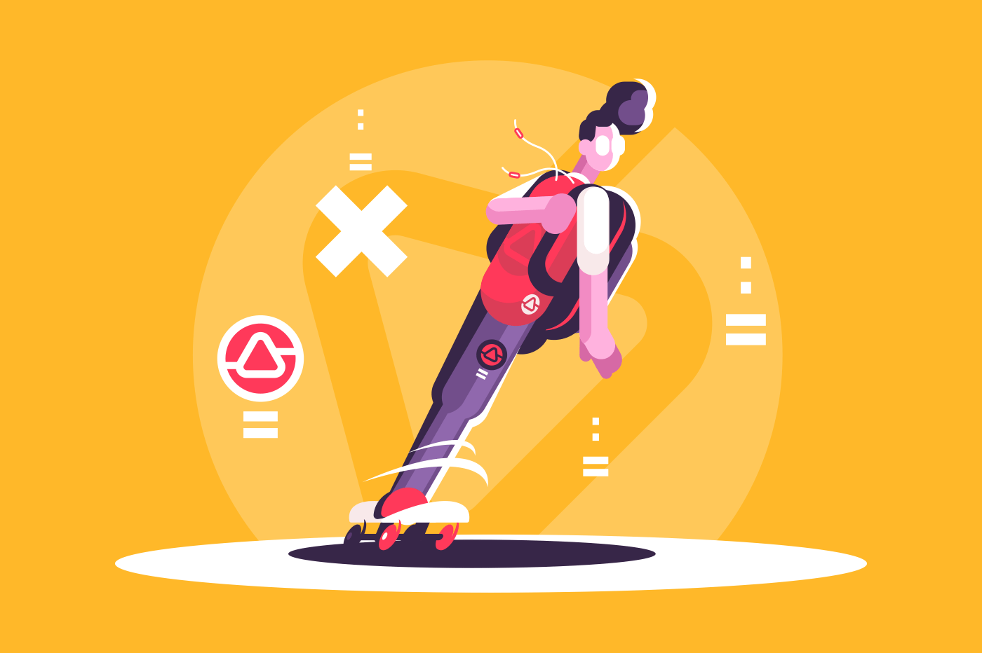 Hipster man riding skateboard. Young guy skateboarding active lifestyle concept. Flat. Vector illustration.