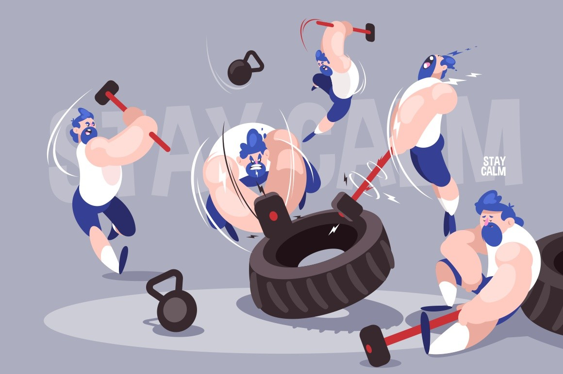 Angry dudes with sledgehammers vector illustration. Strong men hitting tires with big hammers in gym flat style design. High-intensity interval training. Crossfit concept. Stay calm inscription