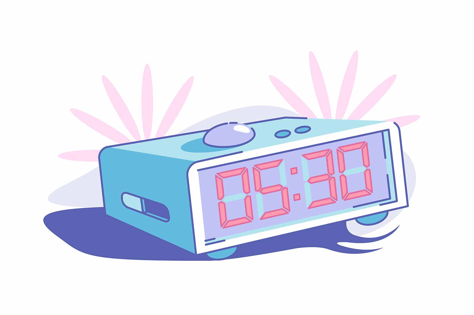 Early morning wake up vector illustration. Alarm set on half past five flat style. Ringing clock. Red numbers on screen. Countdown time concept. Isolated on white background
