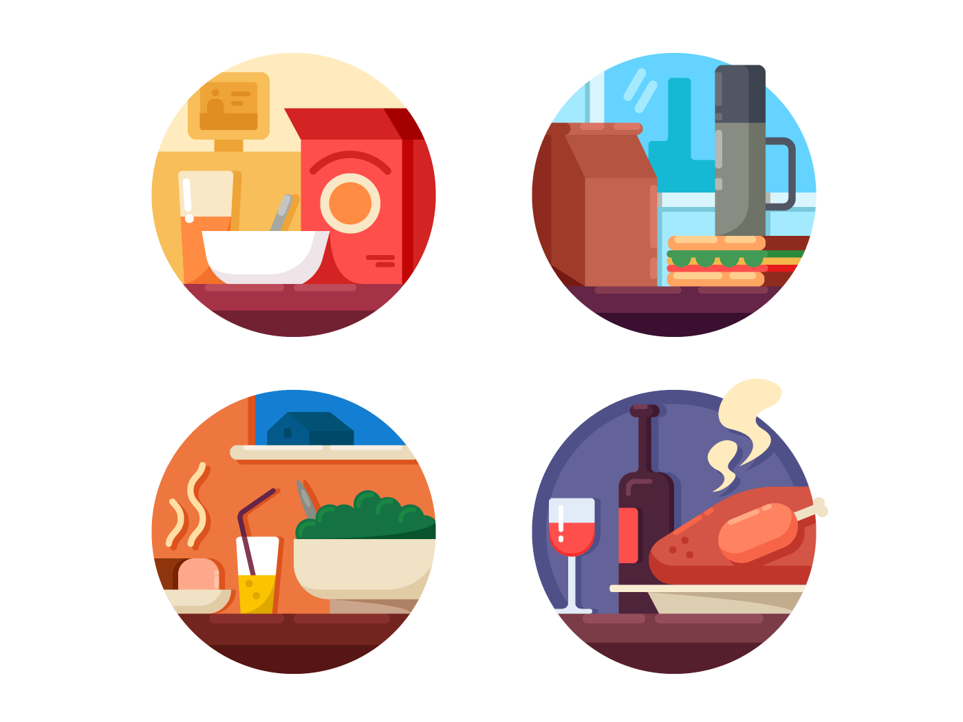 Food to dinner set icons