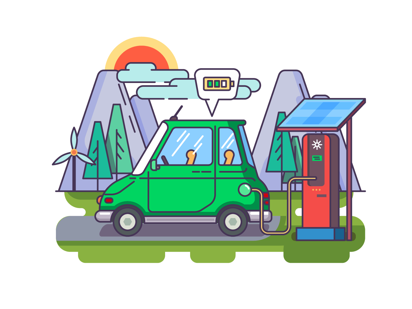 Ecological modern car illustration