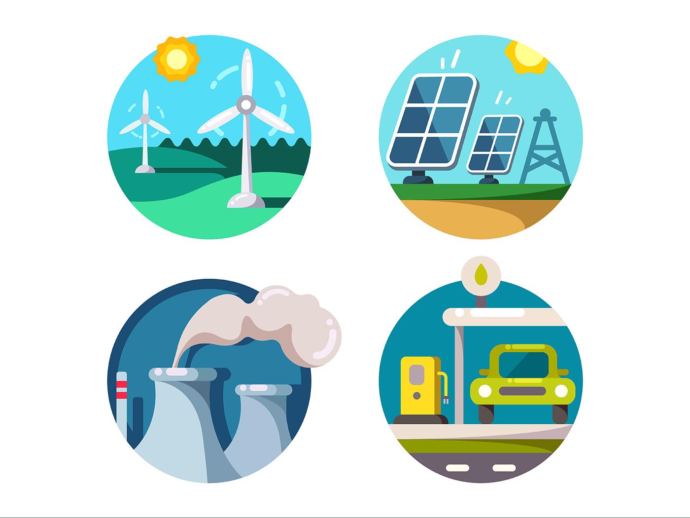 Energy saving technologies icons