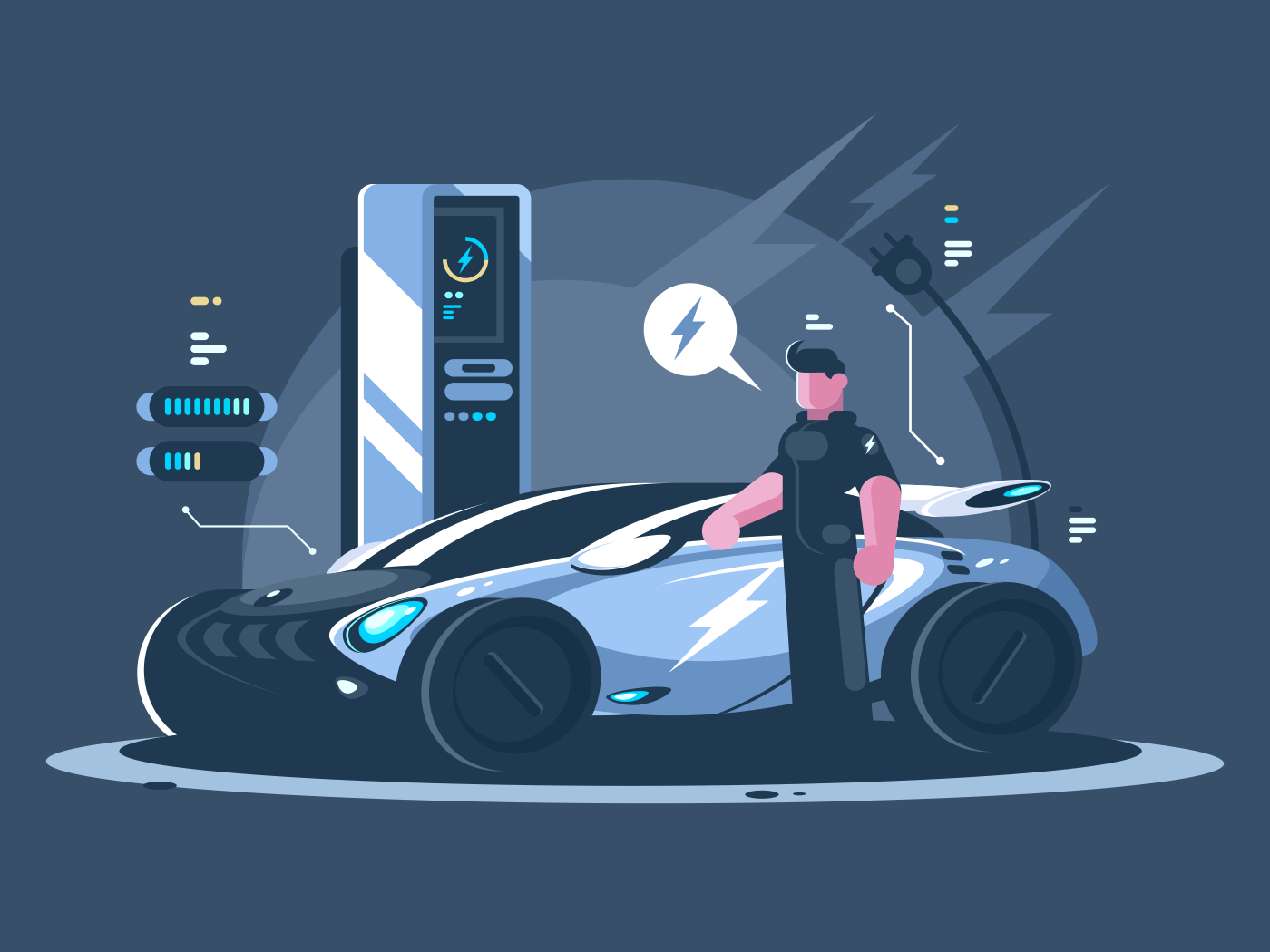 Electric car and driver near auto. New transport eco technologies. Vector illustration