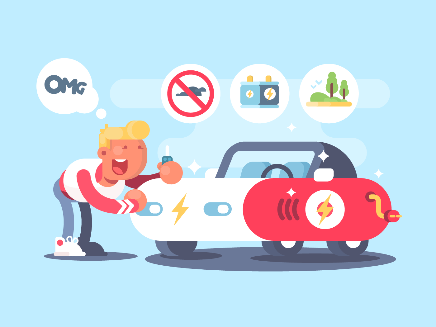 Electric car and happy owner flat vector illustration
