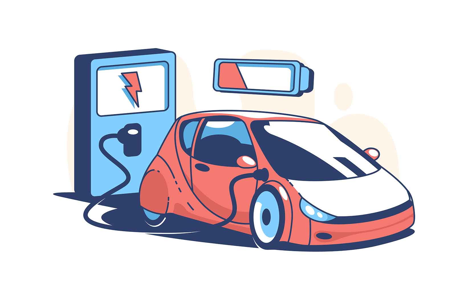 Red electric car vector illustration. Automobile charging at charger station flat style. Power station. Electrified future transportation concept. Isolated on white background
