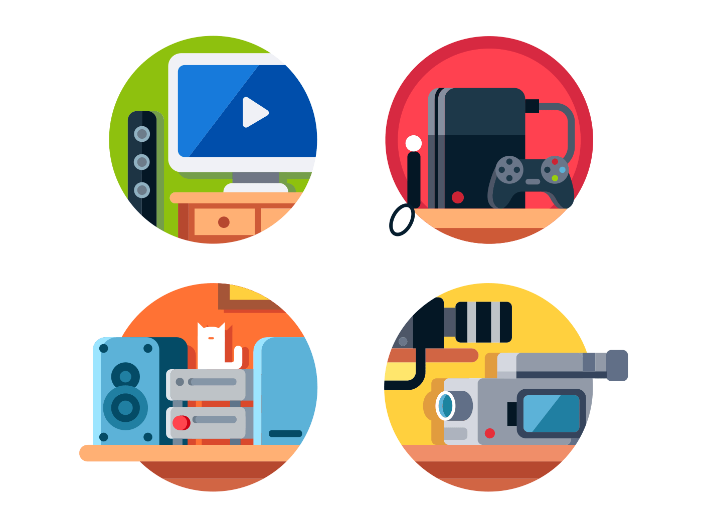 household electronics entertainment flat vector icons