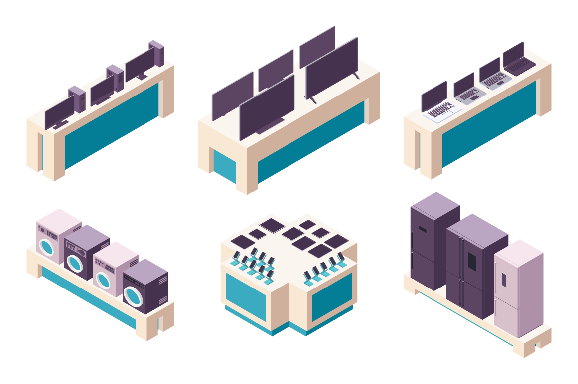 Isometric 3d collection isolated urban element of electronics store.