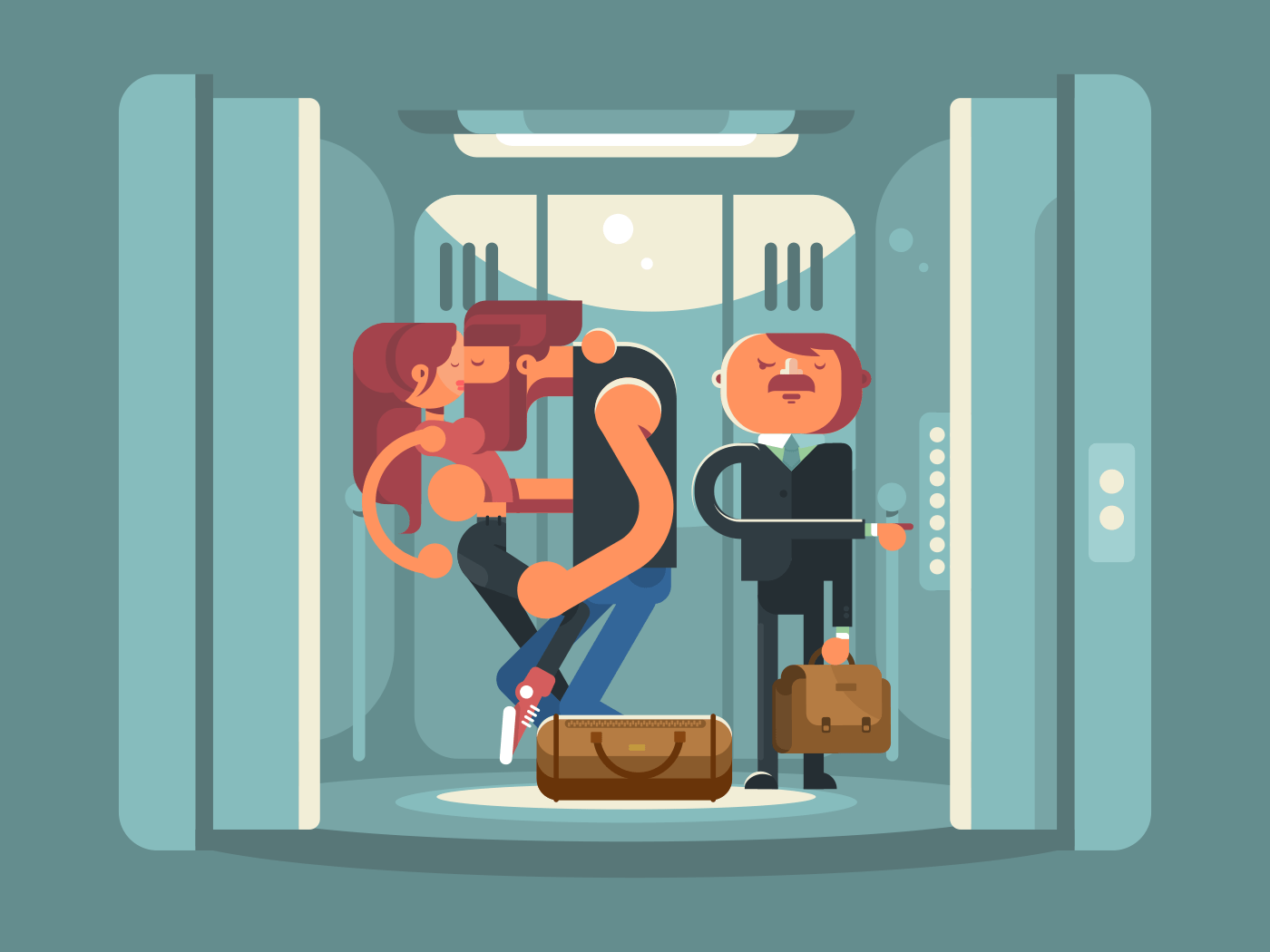 Kissing couple in the elevator flat vector illustration