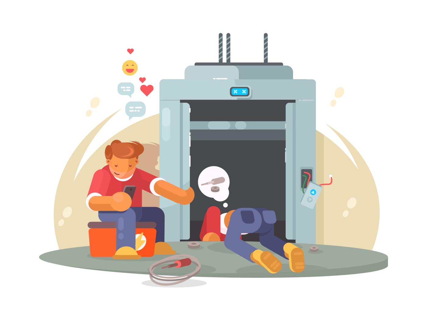 Workers repairing broken lift illustration