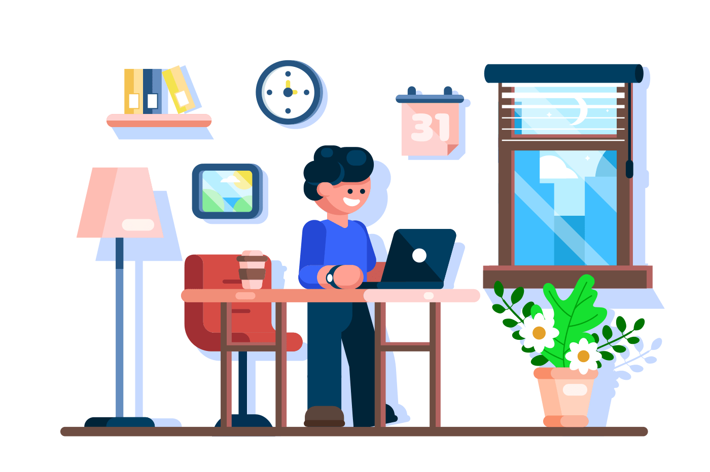 Businessman using laptop at office desk workplace. Freelancer working process. Workspace interior design. Flat. Vector illustration.