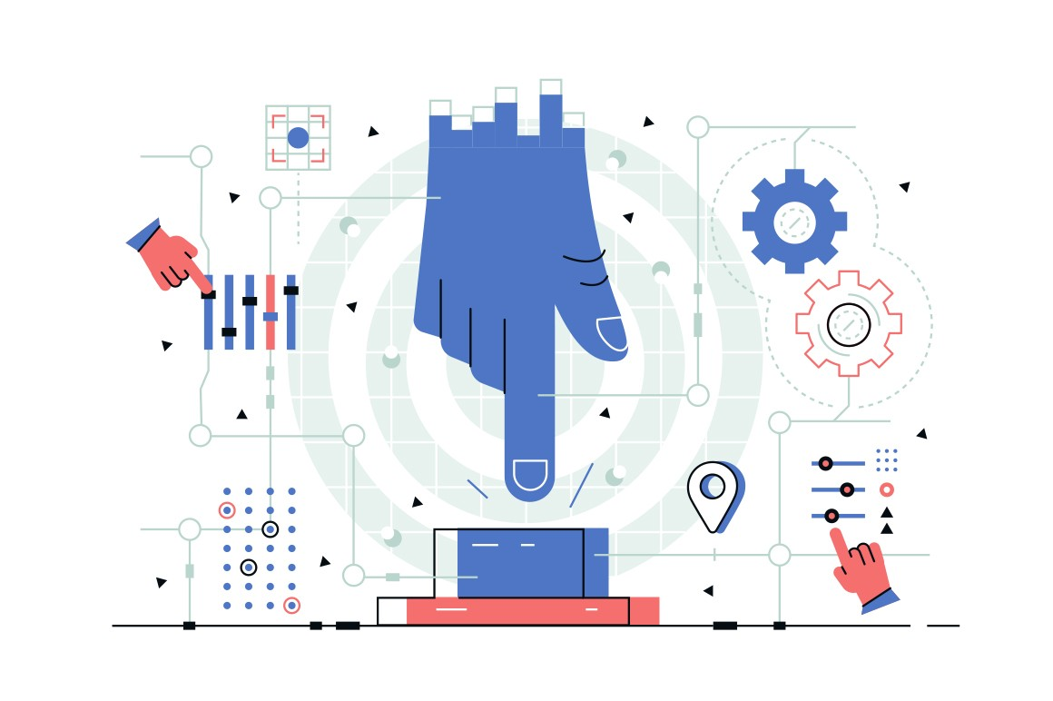 Enable option of manual controlling vector illustration. Enormous blue hand trying to touch big colorful button in room with mechanisms flat style design. IT maintenance concept