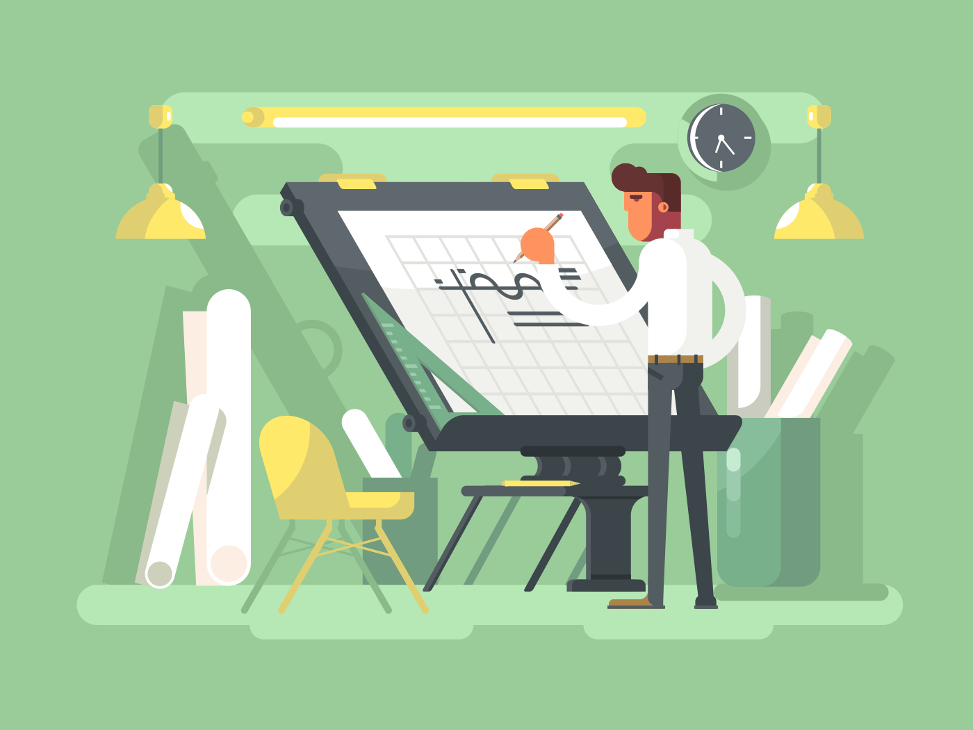 Engineer project draws flat vector illustration