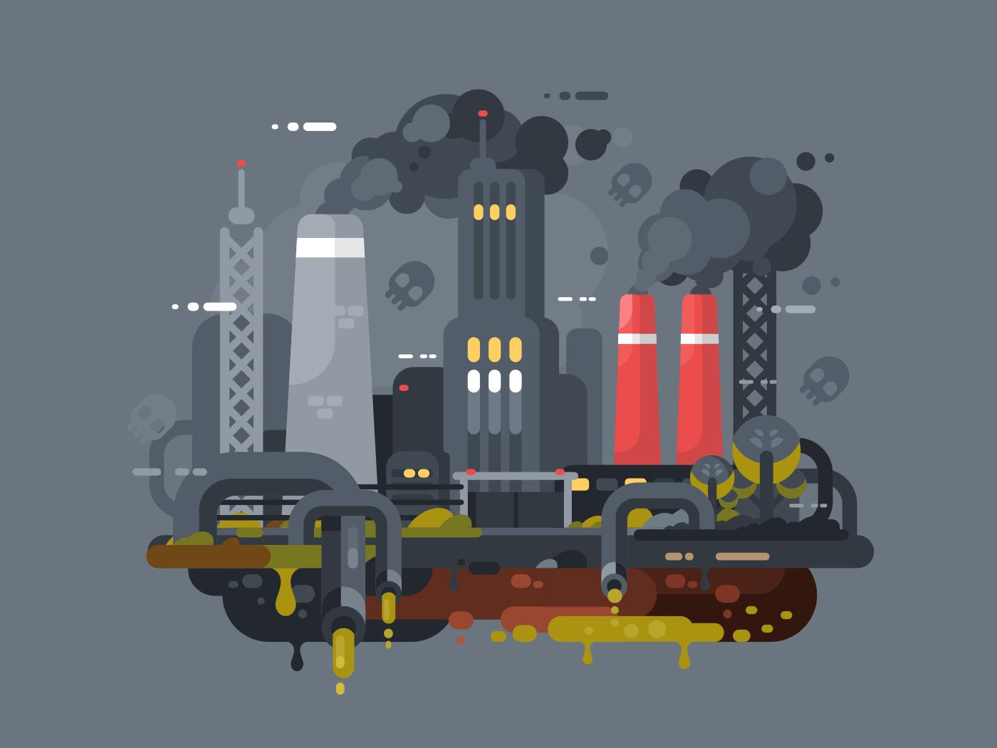 Factories polluting environment flat vector illustration