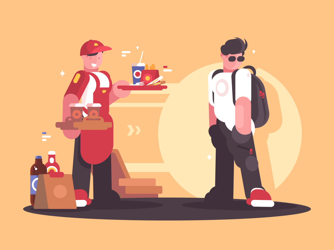Seller of fastfood in uniform. Fast service in cafe. Vector ilustration